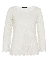 Hallhuber Lace Top With Three Quarter Sleeves White