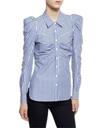 Veronica Beard Candice Striped Fitted Blouse Blue White Blue White