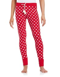 Betsey Johnson Patterned Knit Pajama Pants Red