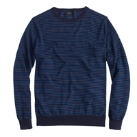J.Crew Tall Cotton Cashmere Sweater In Microstripe Navy