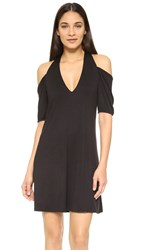 Haute Hippie Cold Shoulder Mini Dress Black