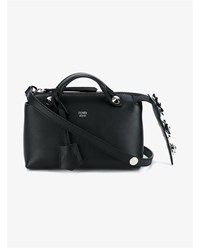 Fendi Mini Leather Floral By The Way Bag Black Metallic Silver