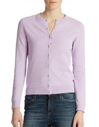 Lord And Taylor Plus Button Front Cardigan Lavender