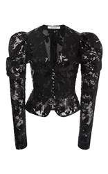 Rodarte Black Sequin And Lace Fitted Jacket