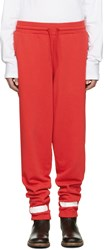 Off White Red Brushed Diagonals Lounge Pants