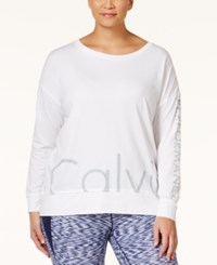 Calvin Klein Performance Plus Size Long Sleeve Logo T Shirt White