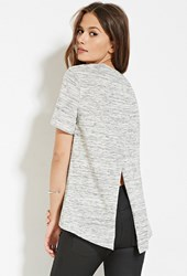 Forever 21 Contemporary Marled Tulip Back Tee Cream Black