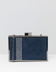 Lotus Box Clutch Bag Navy Microfibre