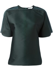 Carven Round Short Sleeves Blouse Green