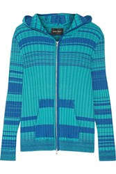 Baja East Striped Ribbed Cotton Blend Hooded Top Teal