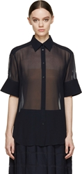 Acne Studios Navy Silk Chiffon Button Up Addle Blouse