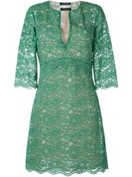 Twin Set Floral Lace A Line Dress Green