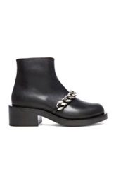Givenchy Laura Leather Silver Chain Ankle Boots In Black