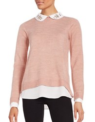 Ivanka Trump Collared Layer Sweater Ballet Pink