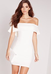 Missguided Bandeau Overlay Bodycon Dress White White