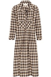 The Great Popover Checked Cotton Dress Midnight Blue