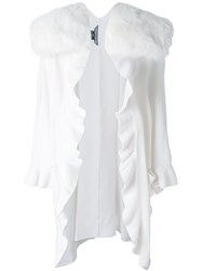 Thomas Wylde Fur Collar Ruffled Cardigan White