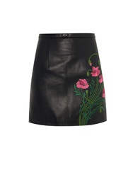 Christopher Kane Floral Embroidered Leather Mini Skirt