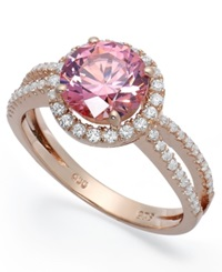 Macy's 14K Rose Gold Over Sterling Silver Ring Pink Cubic Zirconia Wth Swarovski Elements Ring 4 3 4 Ct. T.W.