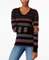 Karen Scott Petite Striped V Neck Ribbed Sweater Only At Macy's New Red Amore