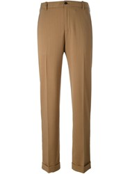 Golden Goose Deluxe Brand Pinstripe Trousers Nude And Neutrals