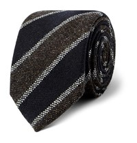 Kingsman Drake's Striped Wool Tie Midnight Blue