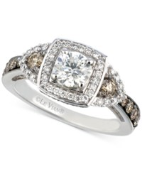 Le Vian Bridal Diamond Square Halo Engagement Ring 1 3 8 Ct. T.W. In 14K White Gold