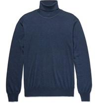 Brioni Wool Silk And Cashmere Blend Rollneck Sweater Blue