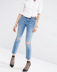 Asos Pencil Straight Leg Jean In Heather Blue Wash With Rips Midwash Blue