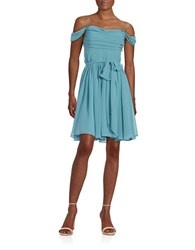 Vera Wang Draped Fit And Flare Dress Aegean Blue