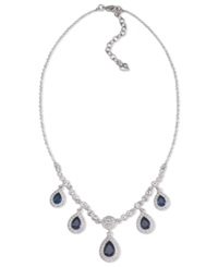 Carolee Necklace Silver Tone Blue Stone Pear Drop Frontal Necklace