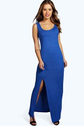 Boohoo Cameron Scoop Neck Front Split Maxi Dress Cobalt