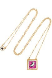 Marc By Marc Jacobs Crow Gold Tone Embroidered Necklace