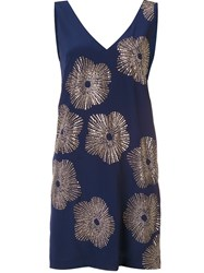 Trina Turk Studded Flower Shift Dress Blue