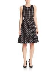 Lord And Taylor Windowpane Fit Flare Dress L And T Black
