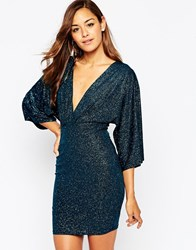 Asos Glitter Mini Bodycon Dress With Kimono Sleeve Blackteal