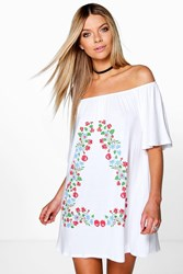 Boohoo Large Folk Embroidered Gypsy Shift Dress White