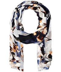 Vince Camuto Foliage And Blooms Dark Shadow Scarves Black