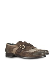 Fratelli Borgioli Color Block Suede Fringed Monk Strap Shoe Brown