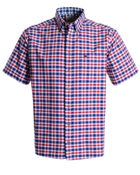 Double Two Check Classic Fit Button Down Shirt Red