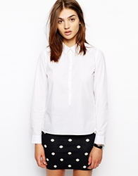 Bzr White Classic Shirt With 3 4 Placket