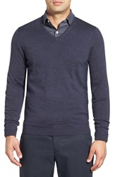 John W. Nordstromr Men's Big And Tall Nordstrom Merino Wool V Neck Sweater Navy Charcoal
