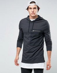 Asos Muscle Hoodie With Woven Zip Pocket Washed Black