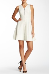 Vince Camuto Front Zipper Fit And Flare Scuba Dress White