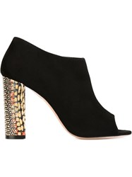 Jean Michel Cazabat Peep Toe Ankle Booties Black