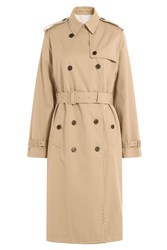 Valentino Rockstud Trench Coat With Cotton Brown