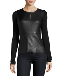 Bailey 44 Faux Leather Keyhole Top Black
