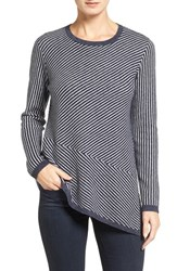 Nordstrom Women's Collection Stripe Cashmere Asymmetrical Hem Pullover
