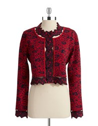 Zac Posen Floral Cut Out Cardigan 974 Night Red