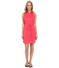 Columbia Super Bonehead Ii Sleeveless Dress Bright Geranium Printed Polka Dot Women's Dress Pink